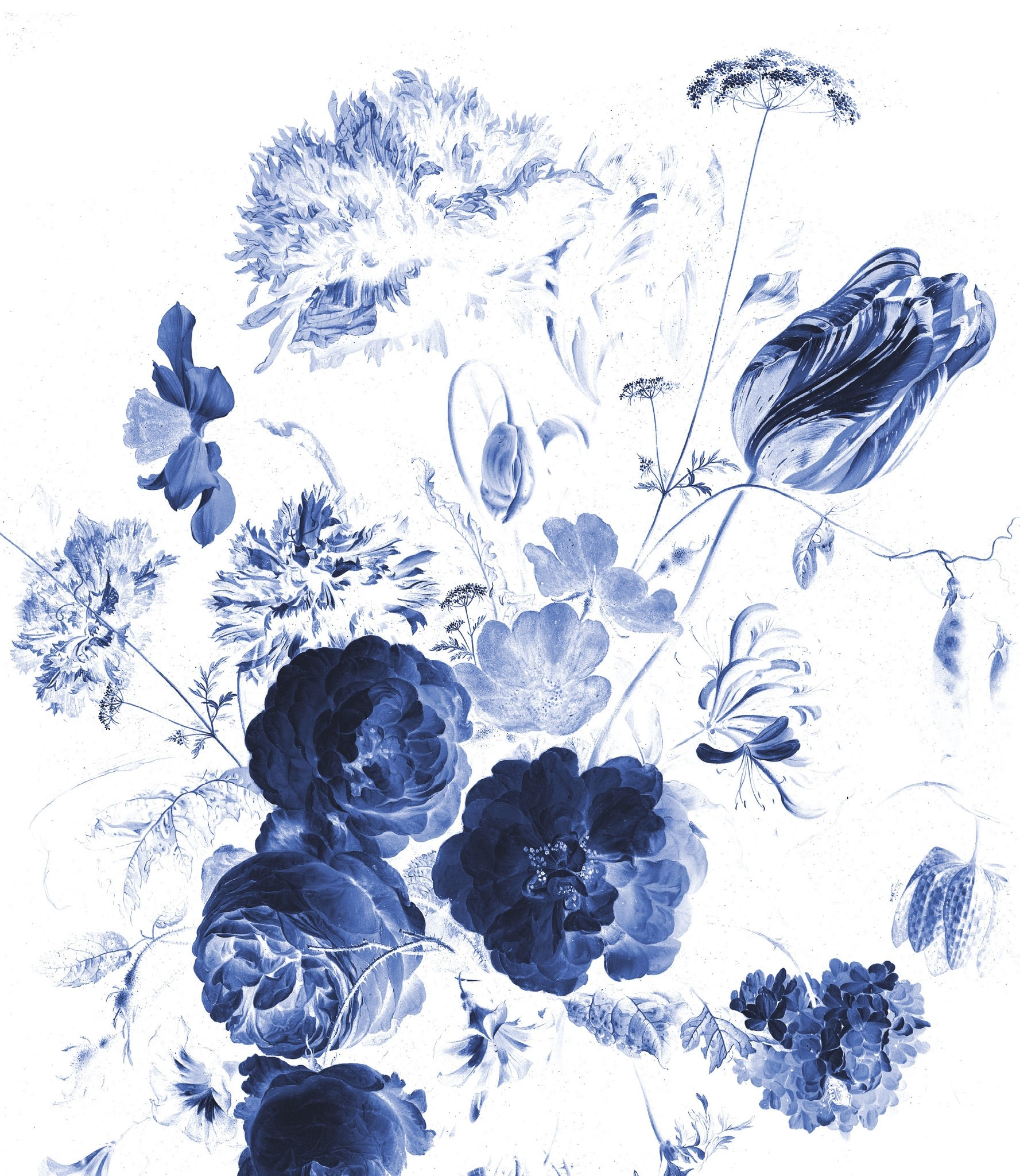 KEK Wallpaper Panel XL, Royal Blue Flowers, 190x220cm-8719743888814-323