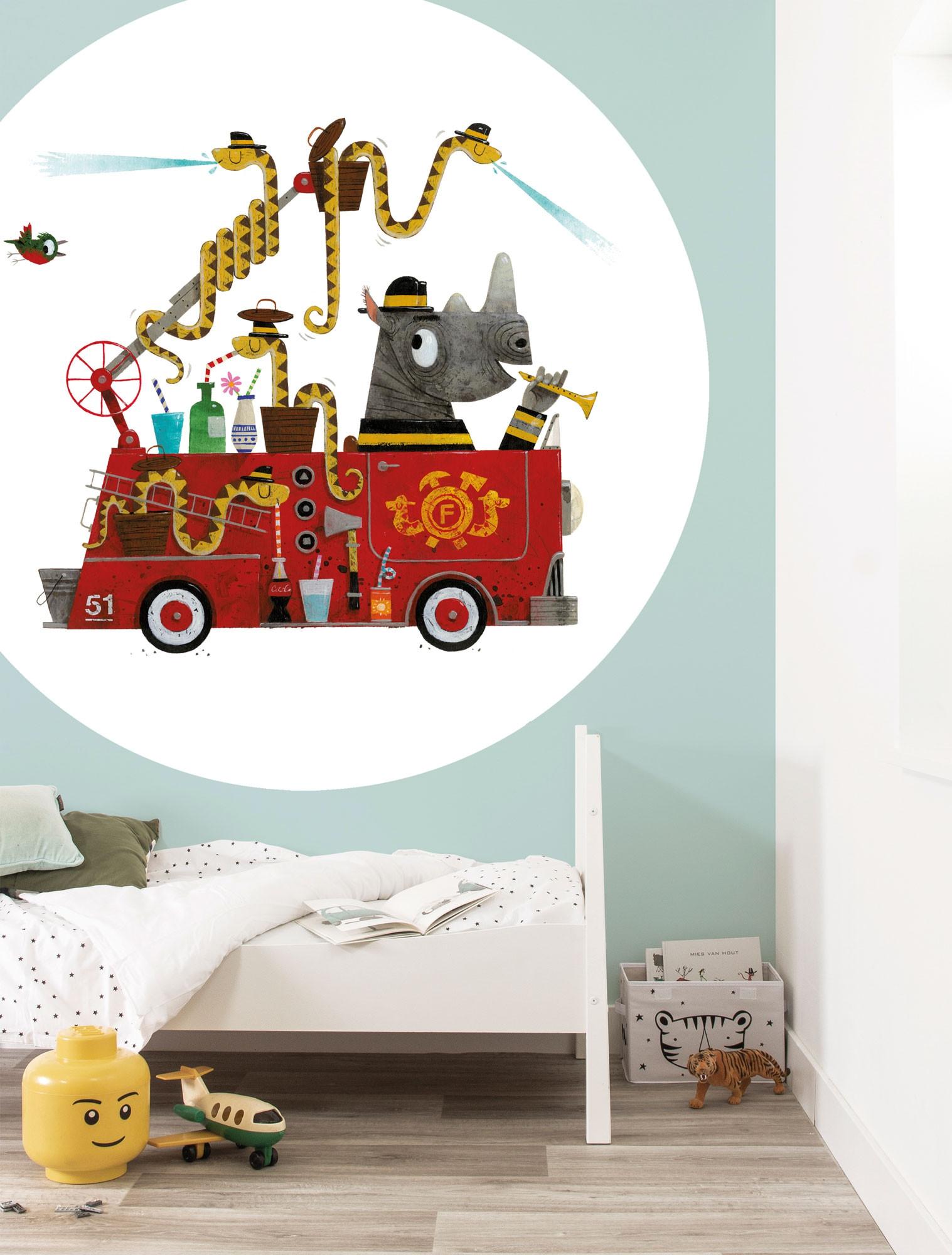 KEK Wallpaper Circle, Behangcirkel Firetruck, ø 190 cm-08719743885905-34