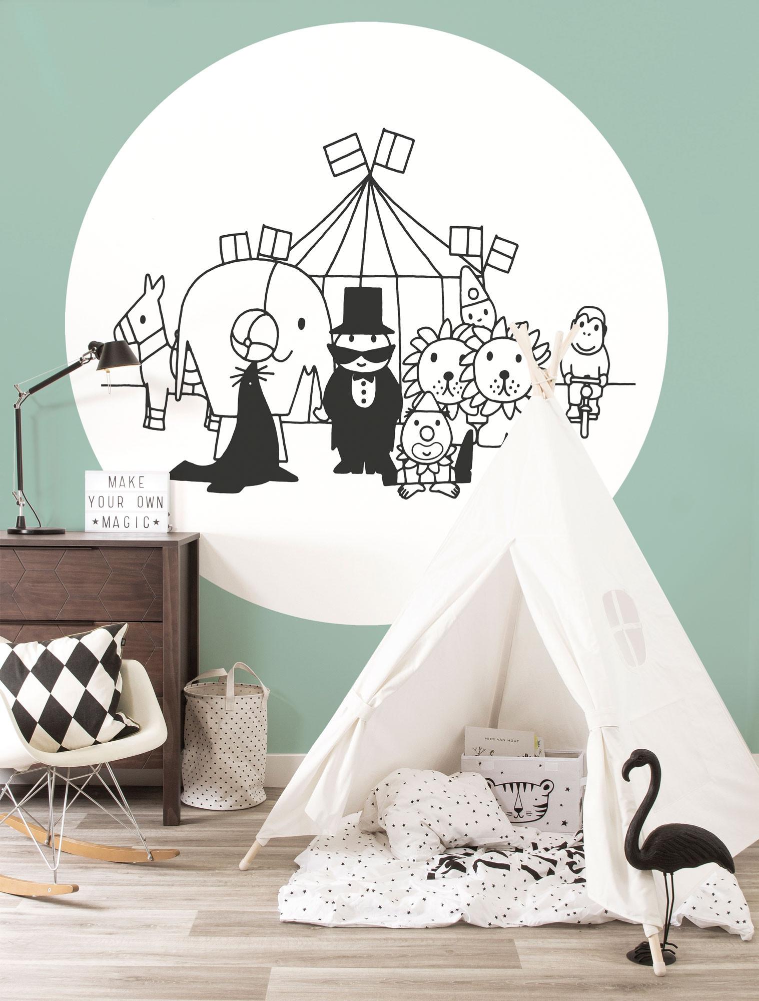 KEK Wallpaper Circle, Behangcirkel Dick Bruna Circus, ø 190 cm-8719743886018-37