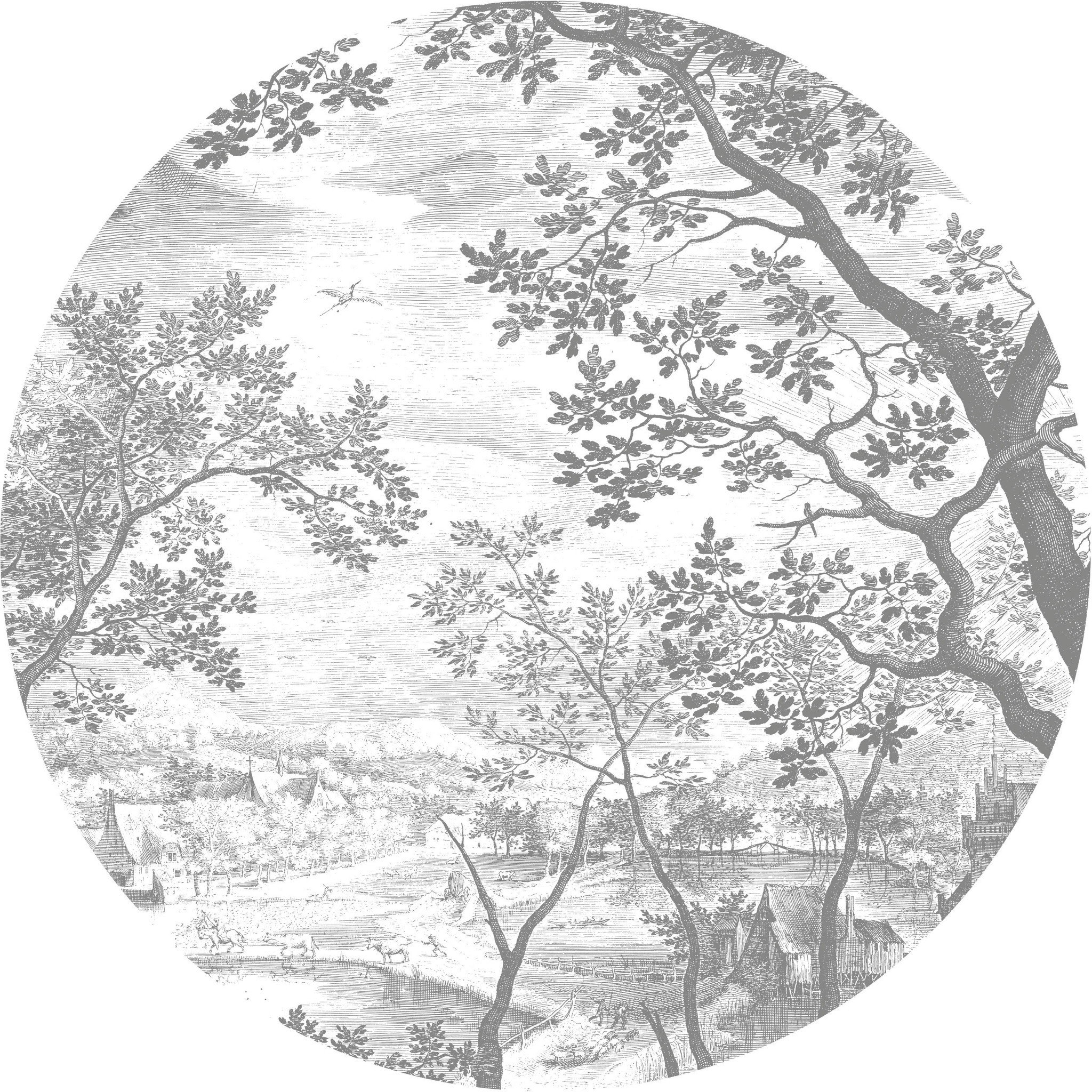 KEK Wallpaper Circle, Behangcirkel Engraved Landscape, ø 190 cm-8719743887732-312