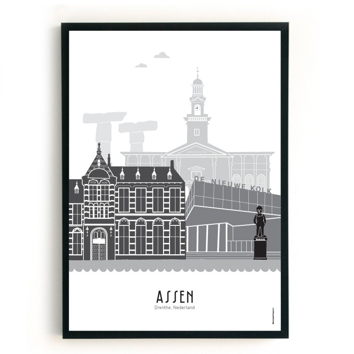 Mevrouw Emmer Poster Assen A3 zwart-wit-grijs-07594865391-32