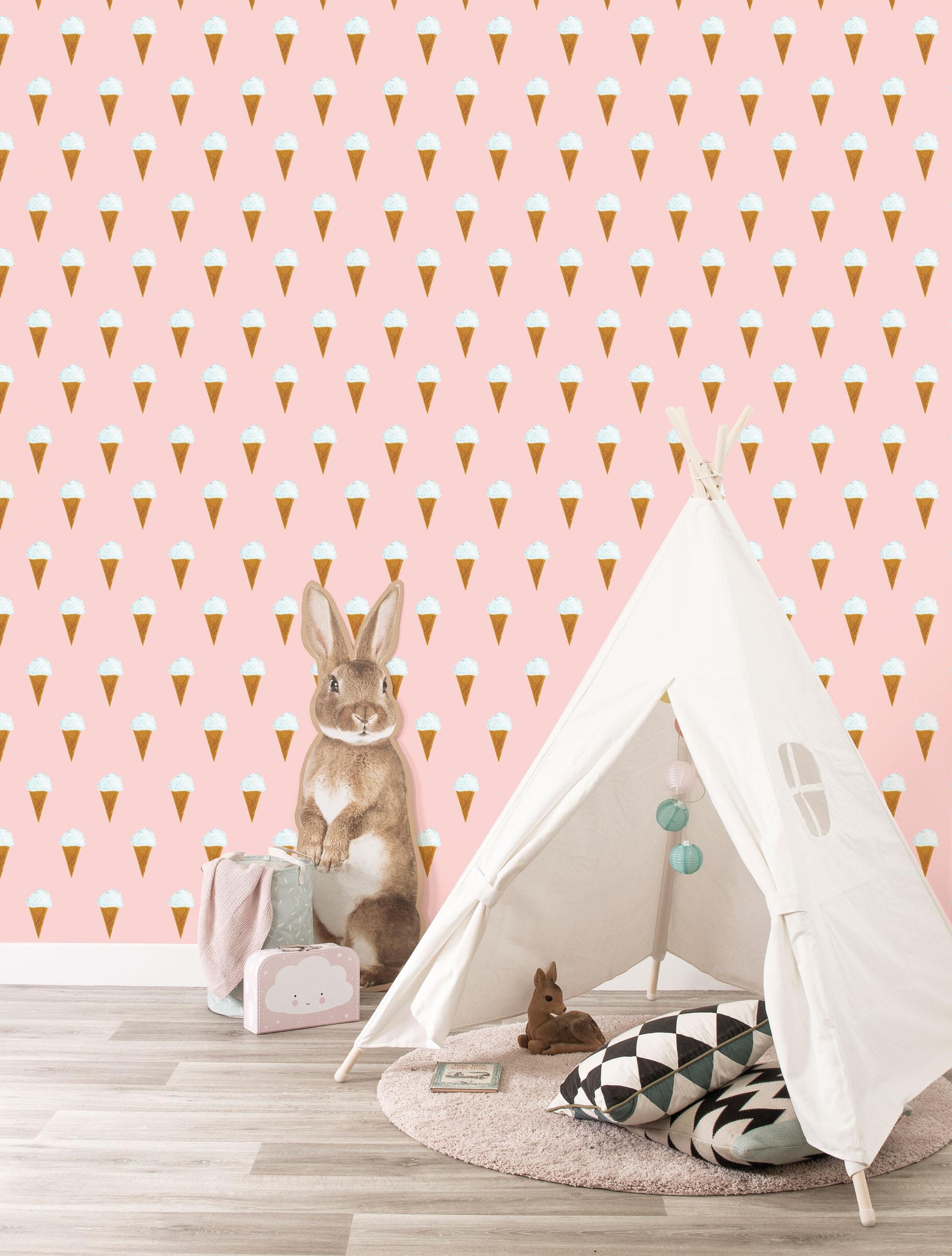 KEK Amsterdam Behang Iijsjes Roze, 97.4 x 280 cm-8719743885844-312