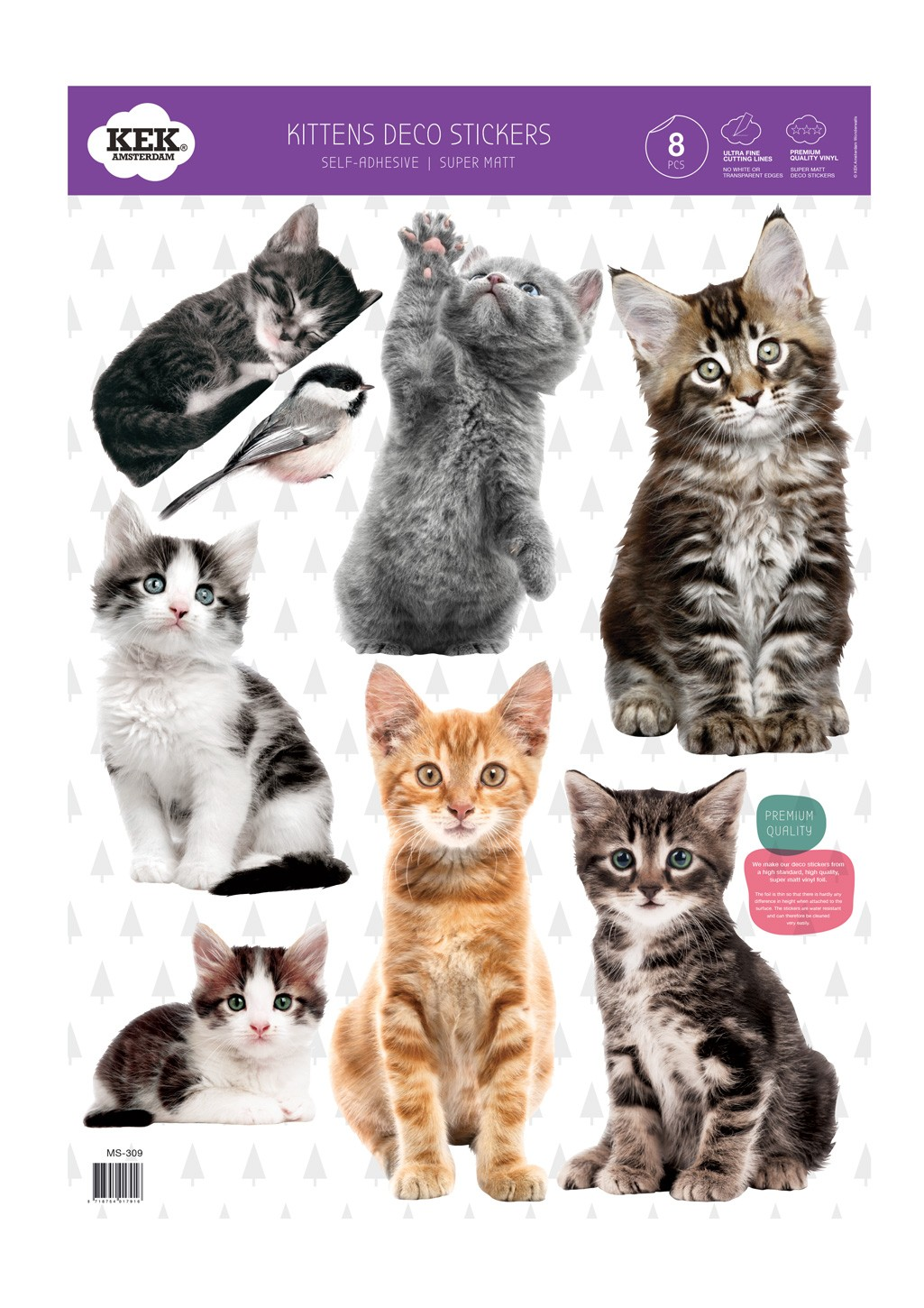 Kek Amsterdam Muurstickers Kittens (8 Wall Stickers), 42 x 59 cm (8 wall stickers)-8718754017916-31
