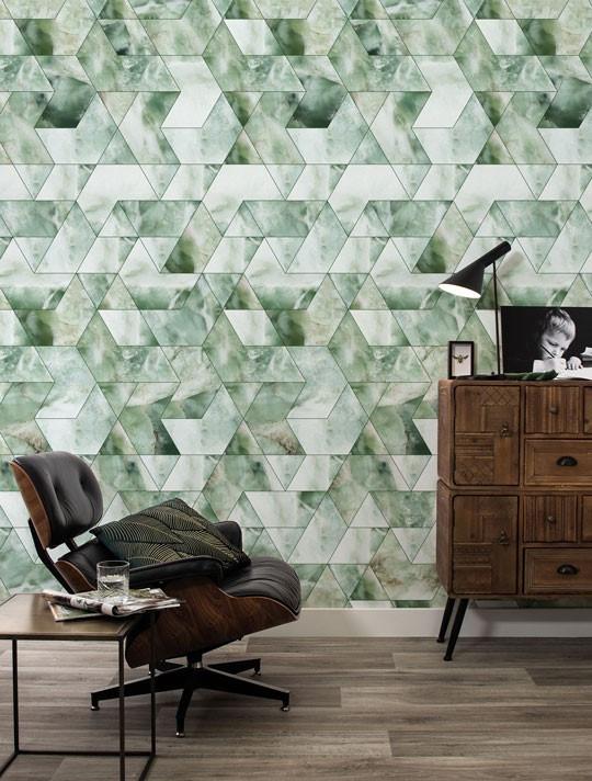 Kek Amsterdam Behang Marble Mosaic, Groen, 97.4 x 280 cm-8719743885738-33