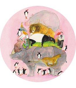 KEK Wallpaper Circle, Behangcirkel Jumping Pinguins, ø 190 cm-8719743886087-311