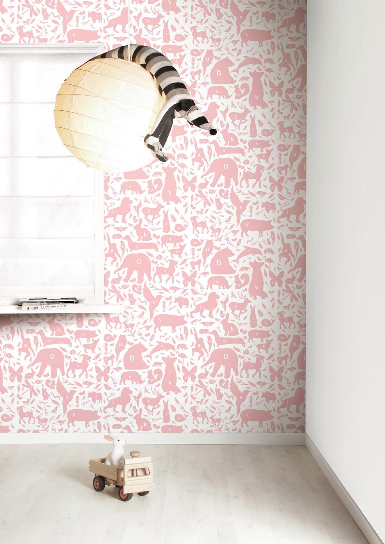 KEK Amsterdam Behang Dieren ABC, roze-8718754019002-33