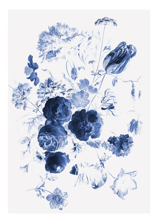 KEK Amsterdam Fotobehang Royal Blue Flowers I, 4 vellen-87187540165991-31