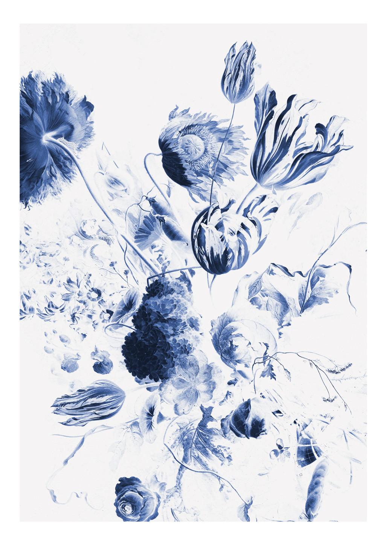 KEK Amsterdam Fotobehang Royal Blue Flowers II, 4 vellen-8718754016605-31