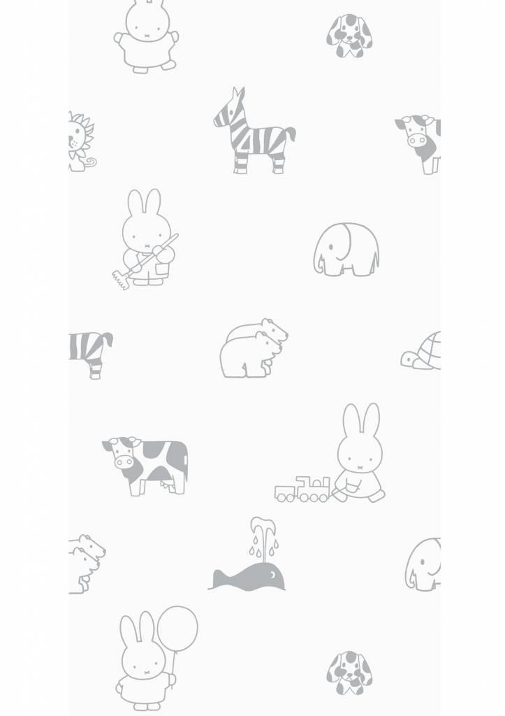 Kek Amsterdam Nijntje behang Outdoor Animals Grey, 97.4 x 280 cm-8719743884328-31