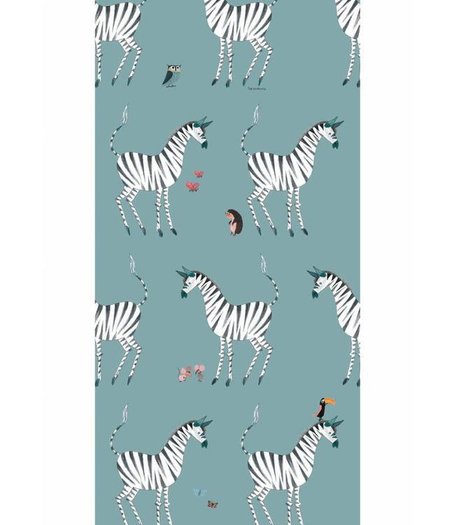 Kek Amsterdam Fiep Westendorp behang Zebra, Petrol, 97.4 x 280 cm-8719743885790-36