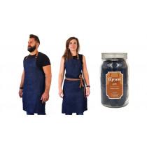 Cookut denim keukenschort met lederen riem bruin 85cm in glazen pot-3760195167205-20