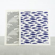 Love Liga set van 2 ecologische vaatdoekjes vis and golven-5060618833570-20
