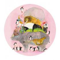 KEK Wallpaper Circle, Behangcirkel Jumping Pinguins, ø 190 cm-8719743886087-20