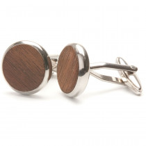 TWO-O Manchetknopen Round Walnut-8718591370212-20