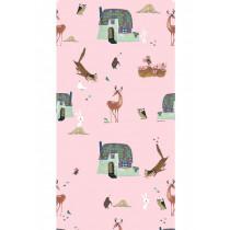 KEK Amsterdam Behang Bosdieren, roze 97.4 x 280 cm (2 banen)-8718754016520-20