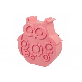 Blafre lunchbox uil roze (rond model met vakverdeling)