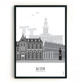Mevrouw Emmer Poster Assen A3 zwart-wit-grijs