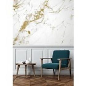 Kek Amsterdam Behang Marble wit-goud 4 banen 194,8x280