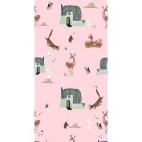 KEK Amsterdam Behang Bosdieren, roze 97.4 x 280 cm (2 banen)