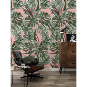 KEK Amsterdam Tropisch Behang Monstera Roze
