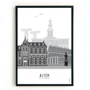 Mevrouw Emmer Poster Assen A3 zwart-wit-grijs-07594865391-20